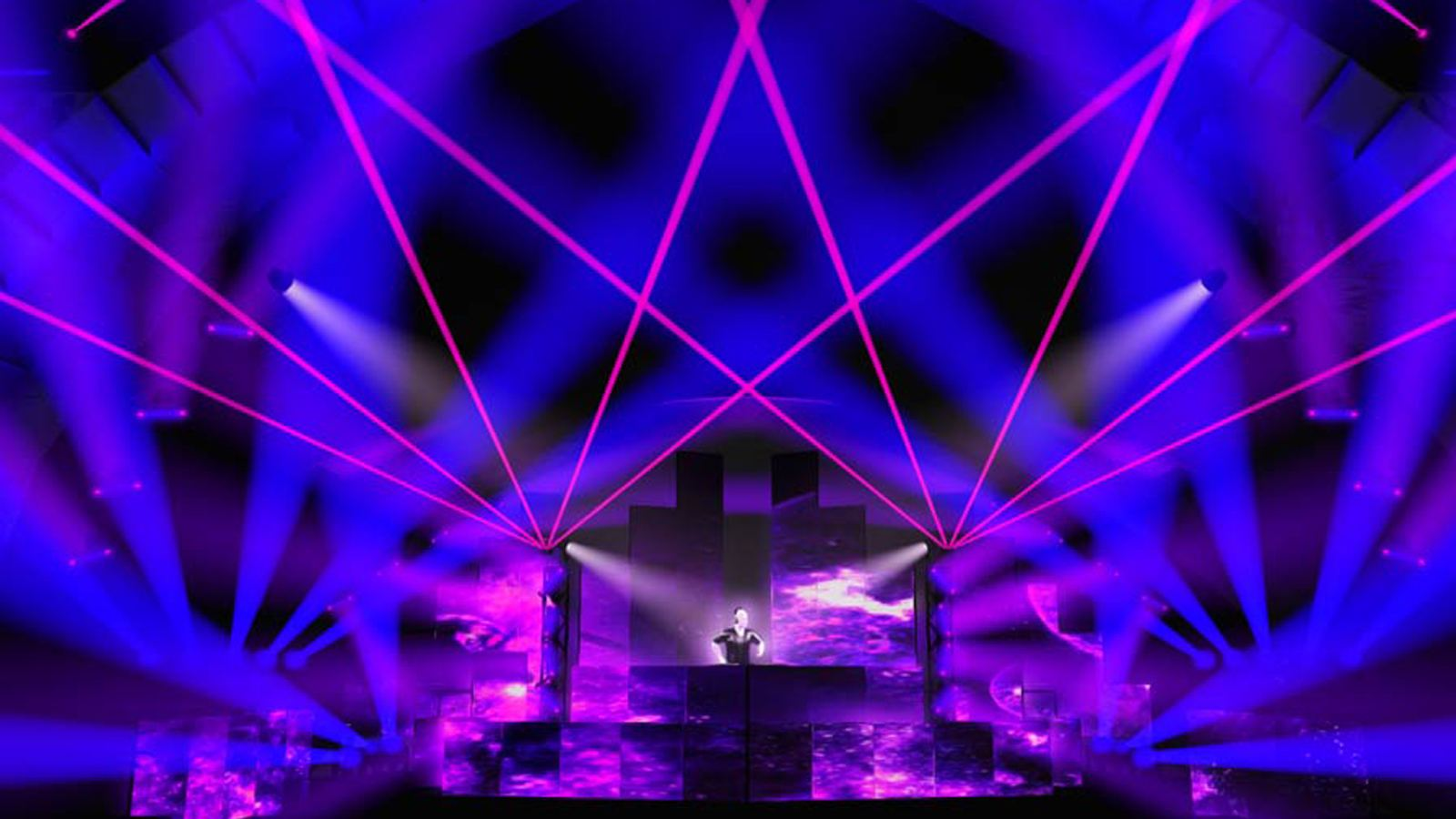 a Dj stage drawn in lighting design software
