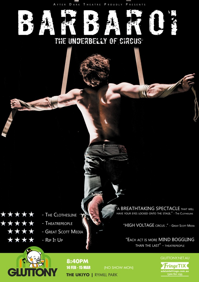 Poster image of Barbaroi, a man hanging in darkness on circus apparatus, looking away from the camera