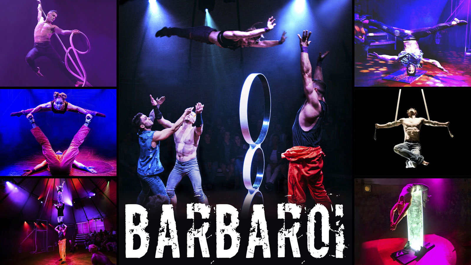A collage of images from the circus show barbaroi