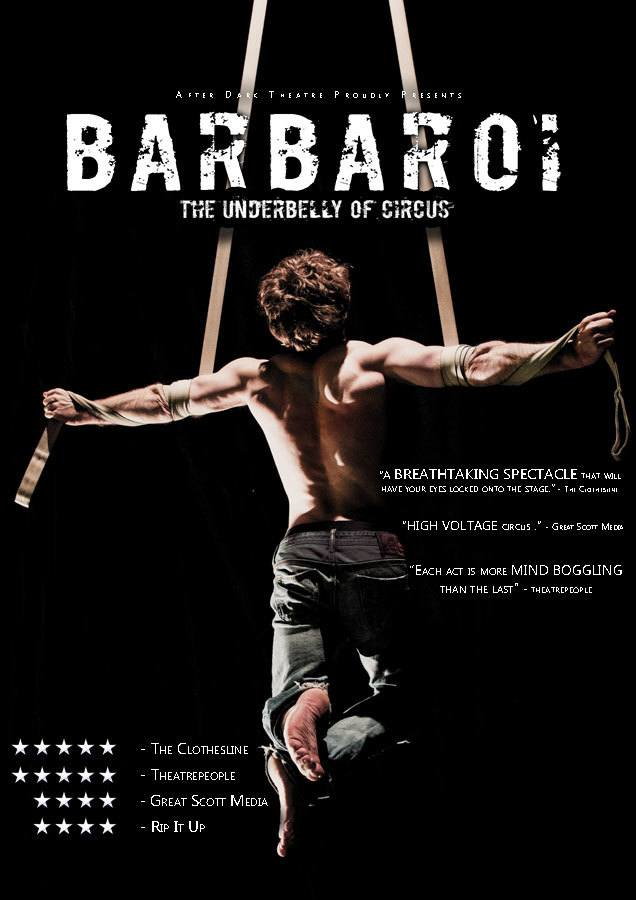a show poster of Barbaroi, a theatre and circus performance