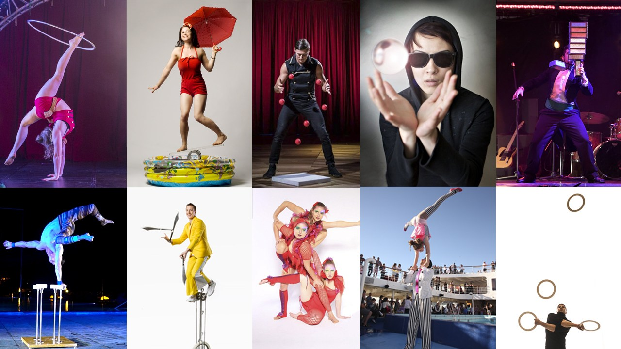a collage of circus acts